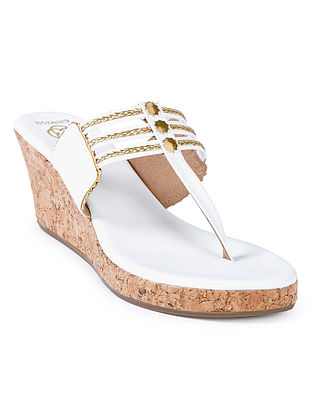 White Embellished Cork Wedges