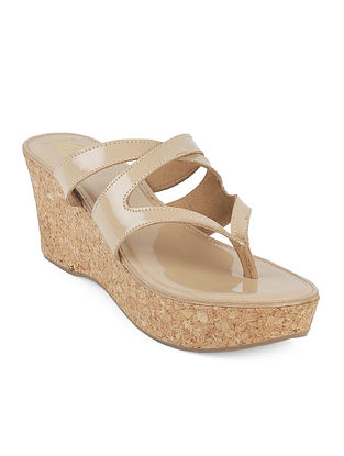 Beige Cork Wedges