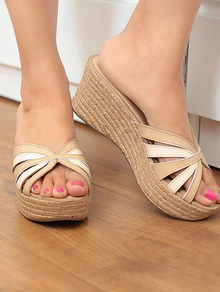 Beige Jute Wedges