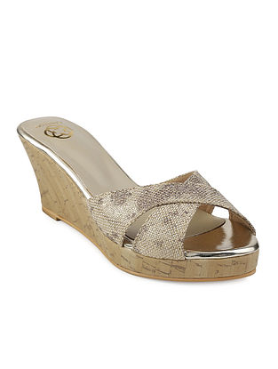 Beige-Golden Cork Wedges