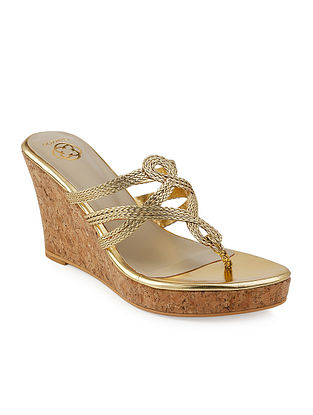 Beige-Golden Braided Jute and Cork Wedges
