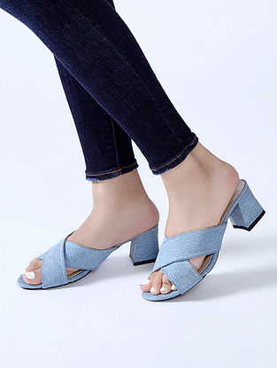 Blue Denim Block Heels