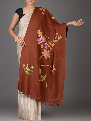 Brown-Peach Aari-embroidered Wool Stole