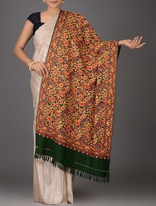 Green-Orange Aari-embroidered Wool Stole