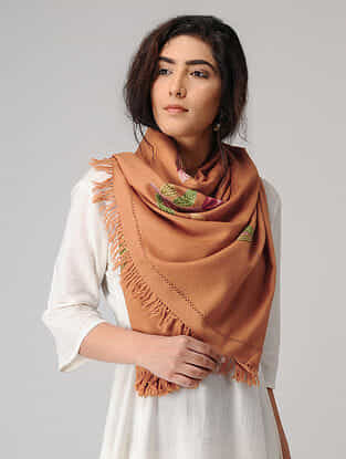 Beige-Green Aari-embroidered Wool Stole