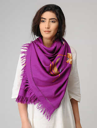 Purple-Yellow Aari-embroidered Wool Stole