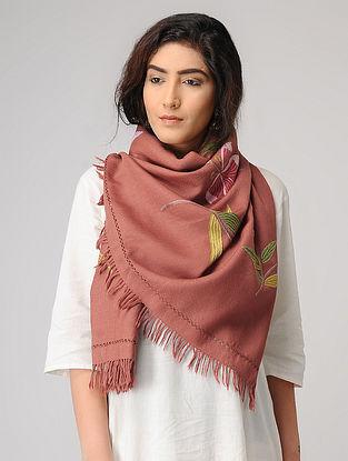 Peach-Yellow Aari-embroidered Wool Stole