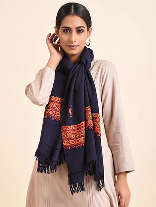 Blue Aari Embroidered Wool Stole