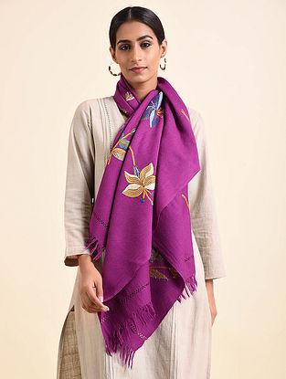 Purple Aari Embroidered Wool Stole