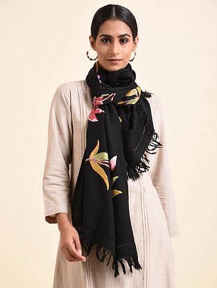Black Aari Embroidered Wool Stole