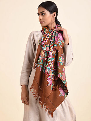 Brown Aari Embroidered Wool Stole