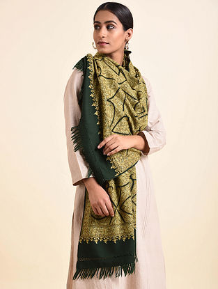 Green Aari Embroidered Wool Stole