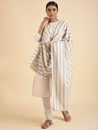 Grey-White Handwoven Pashmina Cashmere Shawl