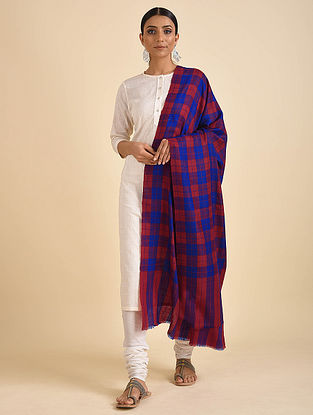 Blue-Red Handwoven Pashmina Cashmere Shawl