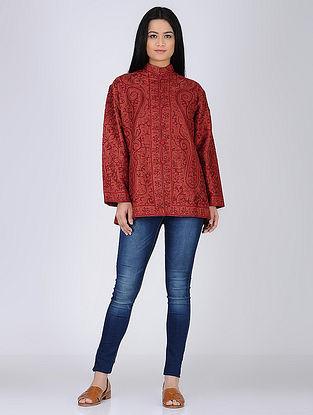 Red Aari Embroidered Wool Jacket
