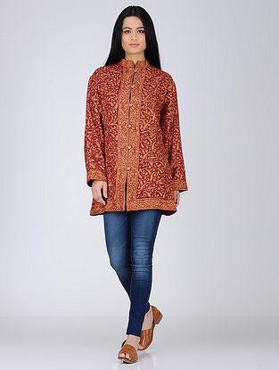 Wine Aari Embroidered Wool Jacket
