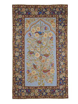 Chain-Stitch Hand Embroidered Wool Rug 57in x 34.5in