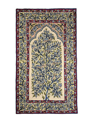 Chain-Stitch Hand Embroidered Wool Rug 58in x 36in