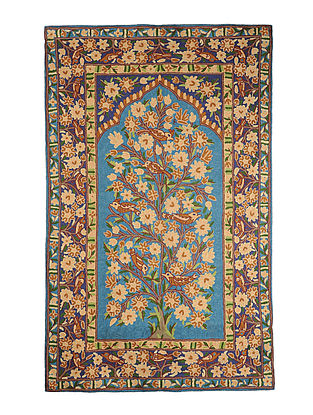 Chain-Stitch Hand Embroidered Wool Rug 58in x 36.5in