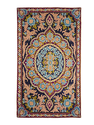 Chain-Stitch Hand Embroidered Wool Rug 58in x 34.5in