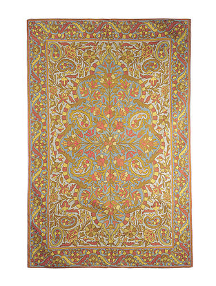 Chain-Stitch Hand Embroidered Wool Rug 70in x 48in