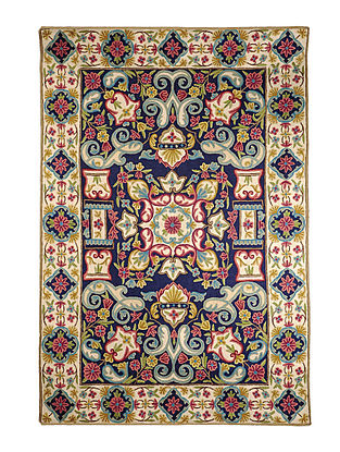 Chain-Stitch Hand Embroidered Wool Rug 69in x 49in