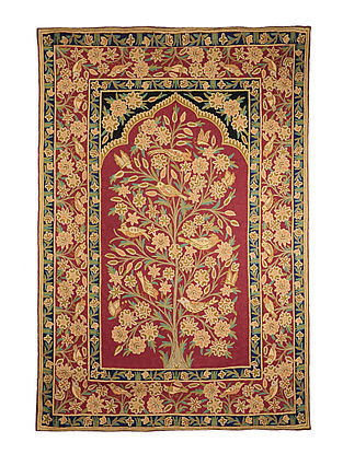 Chain-Stitch Hand Embroidered Wool Rug 70in x 48.5in