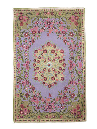 Chain-Stitch Hand Embroidered Wool Rug 68in x 48in
