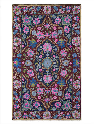 Multi-Color Crewel Hand Embroidered Wool Rug 59in x 35.5in
