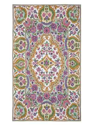 Multi-Color Crewel Hand Embroidered Wool Rug 69in x 48in