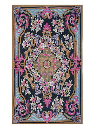 Multi-Color Crewel Hand Embroidered Wool Rug 71in x 46in