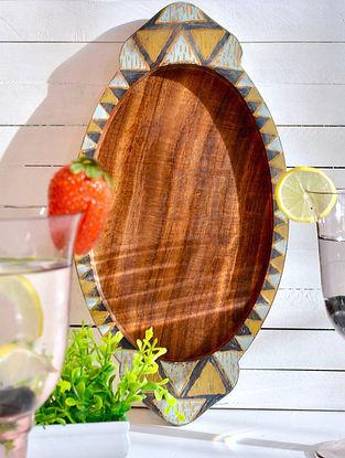 Antiqued Geometrical Balance Hand-painted Sheesham Wood Tray (L - 34cm, W - 17.8in, H - 2.5cm)