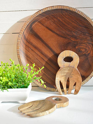 Antiqued Geometrical Balance Hand-painted Sheesham Wood Plate (Dia - 25.4cm, H - 2.5cm)