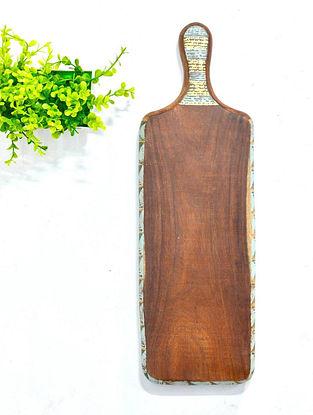 Antiqued Geometrical Balance Hand-painted Sheesham Wood Platter (L - 40cm, W - 12cm, H - 2.5cm)