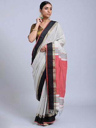 Ivory-Pink Handloom Silk Cotton Saree with Zari