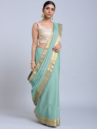 Aqua Green Handloom Silk Cotton Saree with Zari