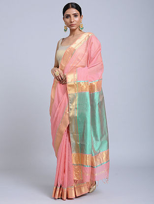 Pink Handloom Silk Cotton Saree with Zari