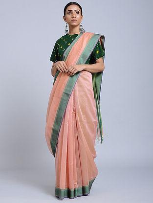 Pink-Green Handloom Silk Cotton Saree with Zari