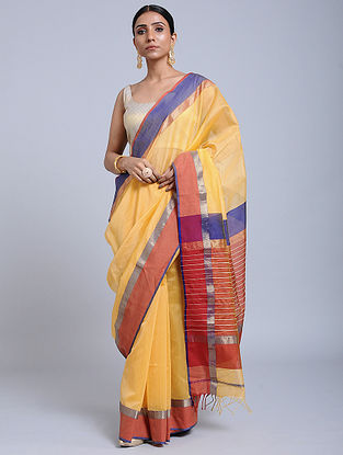 Yellow-Red Handloom Silk Cotton Saree with Zari