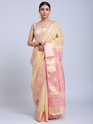 Beige-Pink Handloom Silk Cotton Saree with Zari