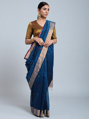 Blue Handloom Silk Cotton Saree with Zari
