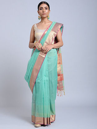 Turquoise-Pink Handloom Silk Cotton Saree with Zari