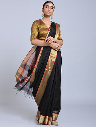 Black-Red Handloom Silk Cotton Saree with Zari