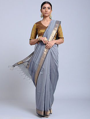 Grey Handloom Silk Cotton Saree with Zari