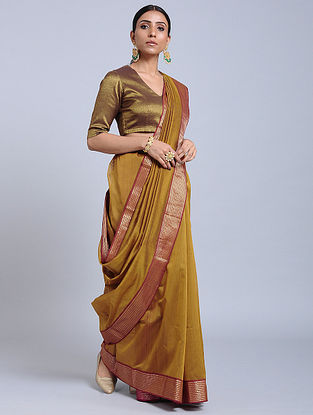 Mustard-Red Handloom Silk Cotton Saree with Zari