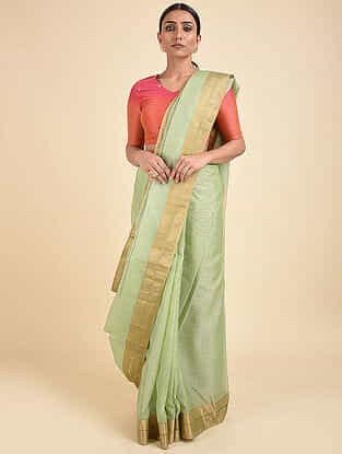Green Handwoven Silk Cotton Saree with Zari