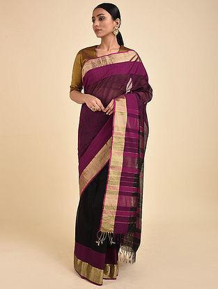 Purple-Black Handwoven Silk Cotton Saree with Zari