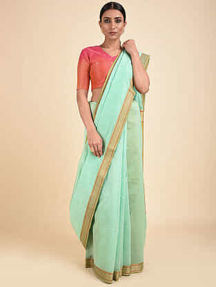 Turquoise Handwoven Silk Cotton Saree with Zari