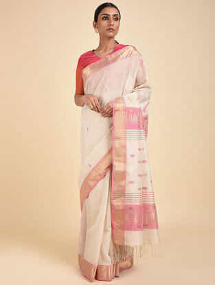 White-Pink Handwoven Silk Cotton Saree with Zari