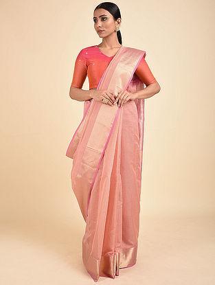 Pink Handwoven Silk Cotton Saree with Zari